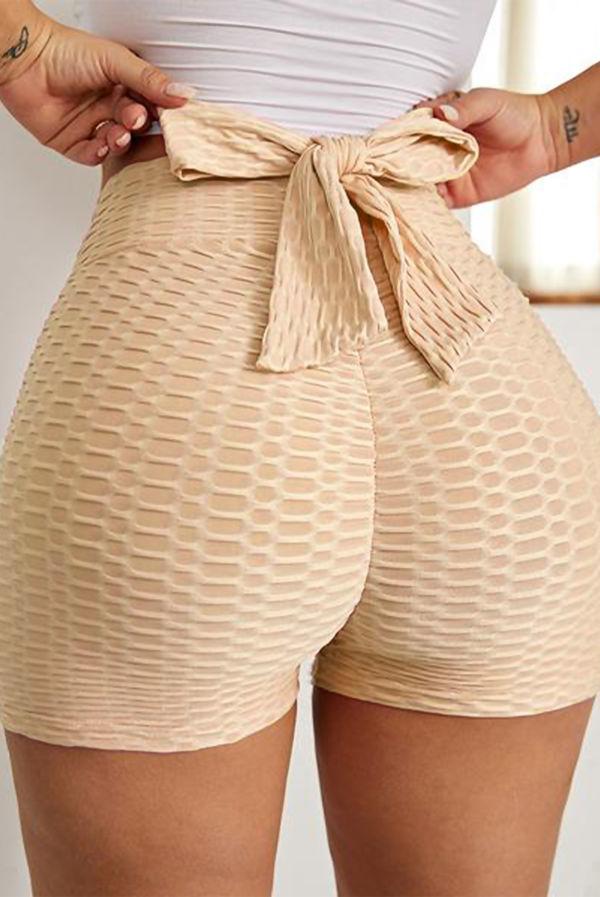 Black Bowknot Waffle Butt Lift Gym Shorts