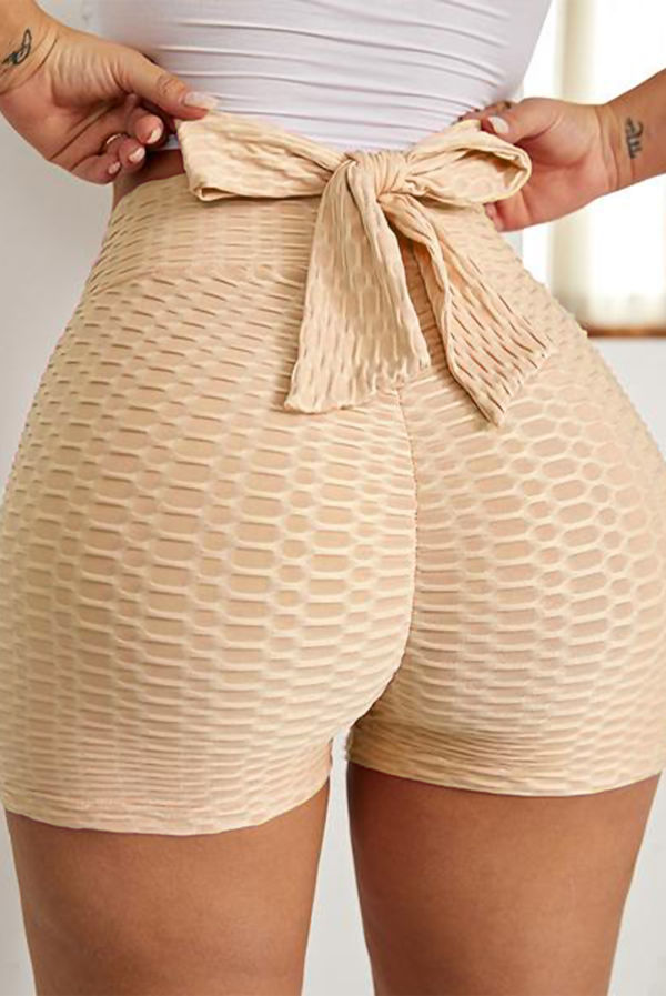 Grey Bowknot Waffle Butt Lift Gym Shorts