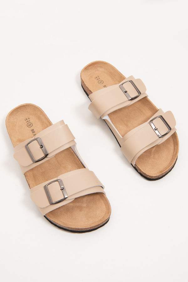 Beige Buckle Strap Slip On Sandals