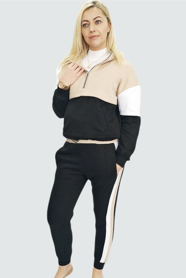 Beige Colourblock Fleece Lined Lounge Suit