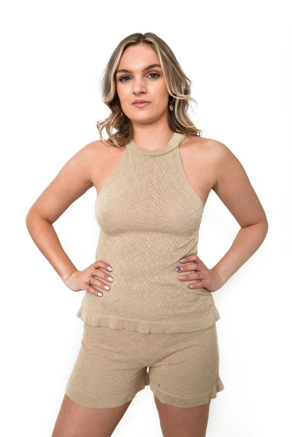 Dusty Crochet Knitted Halter Top And Shorts Co-Ord