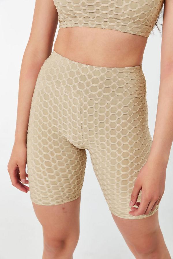 Beige Honeycomb Bralette And Ruched Biker Shorts Set