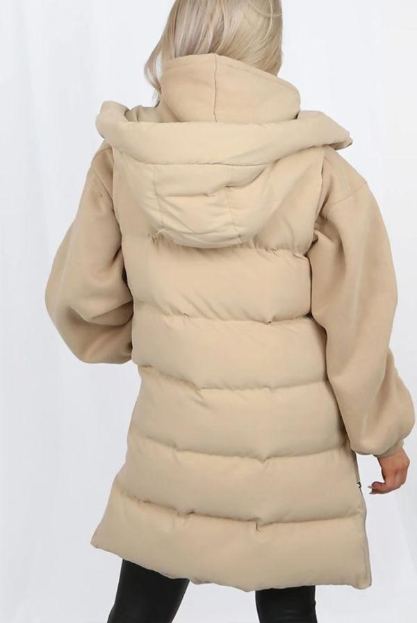 Beige Longline Hooded Puffer Gilet