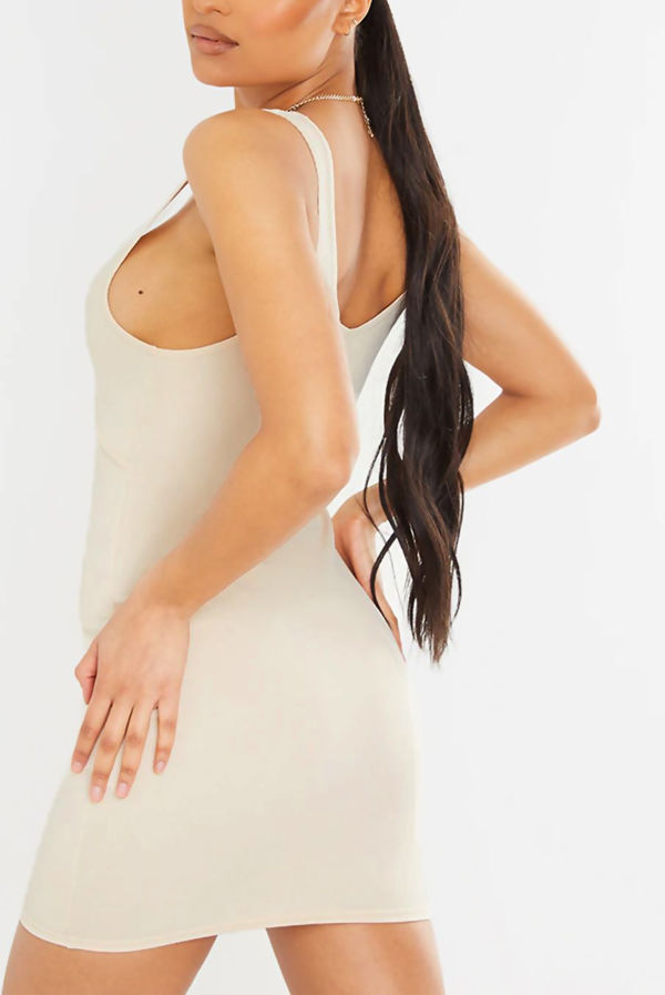 Beige Ribbed Underbust Seam Detail Bodycon Dress