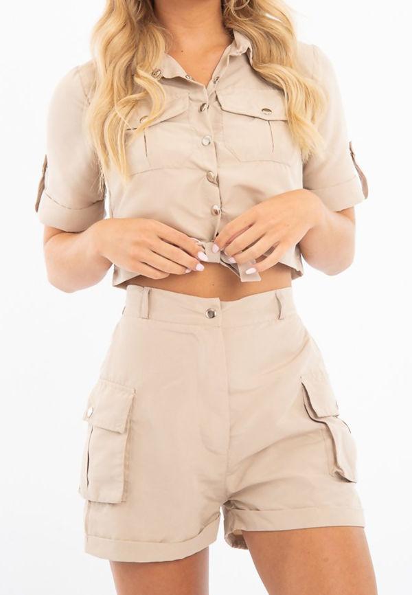 Beige Utility Pockets Crop Shirt and Short Co-ord Set