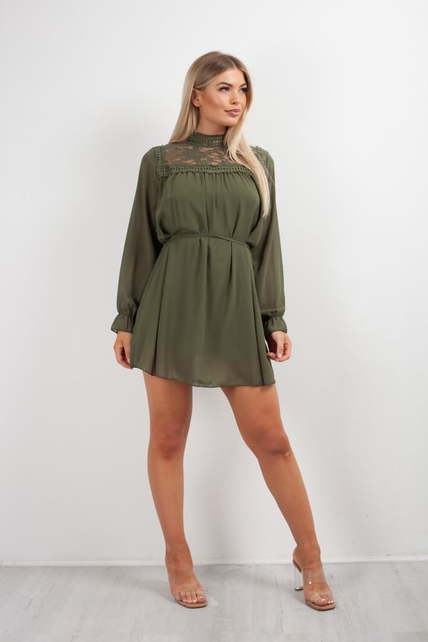 Bishop Sleeve Tie Dress