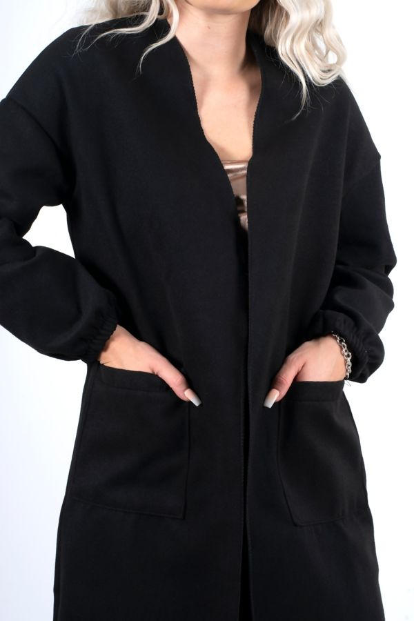 Black Balloon Sleeve Maxi Pocket Front Coat