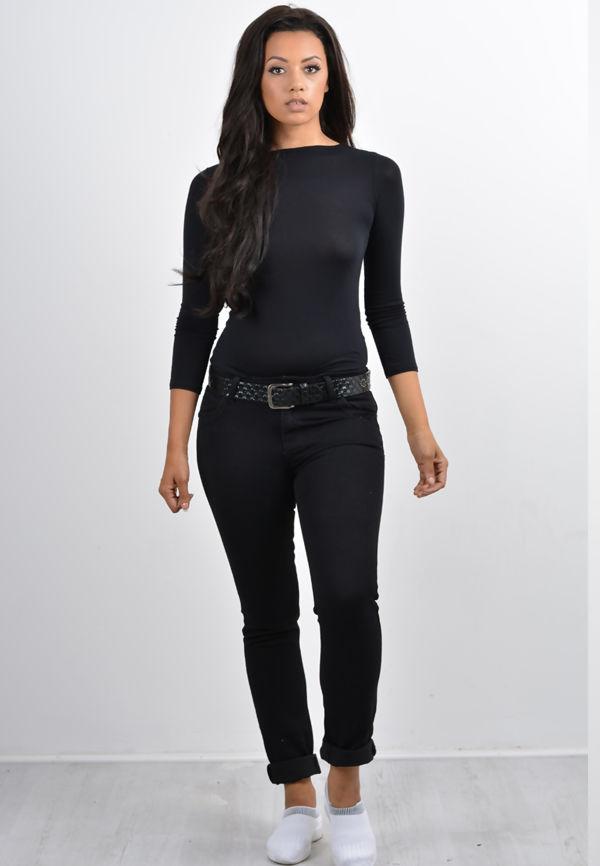 Black Basic Five Pocket Jeans