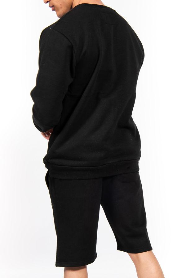 Black Basic Sweatshirt And Shorts Set