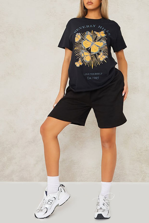 Black Beverly Hills Butterfly Oversized Tee