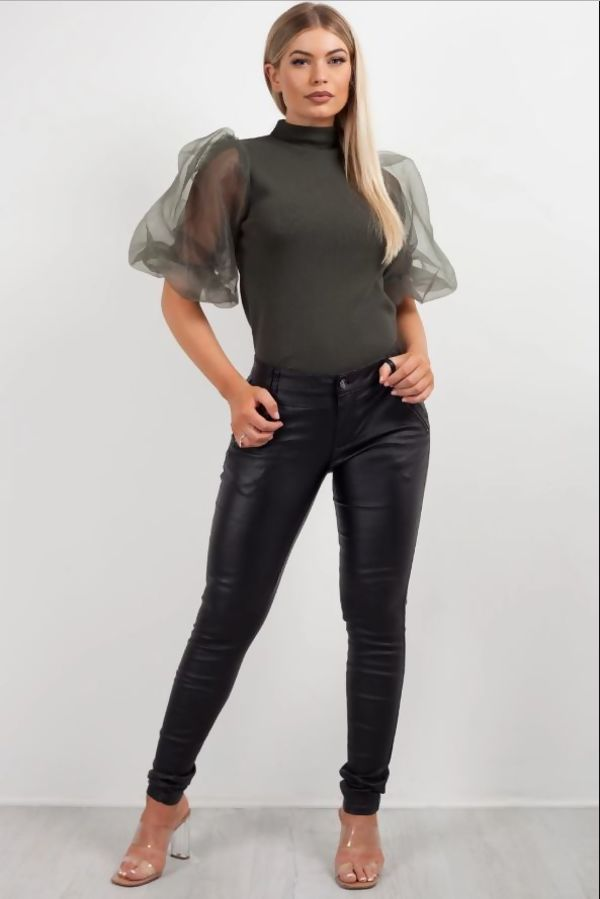 Black Biker Leather Jeans