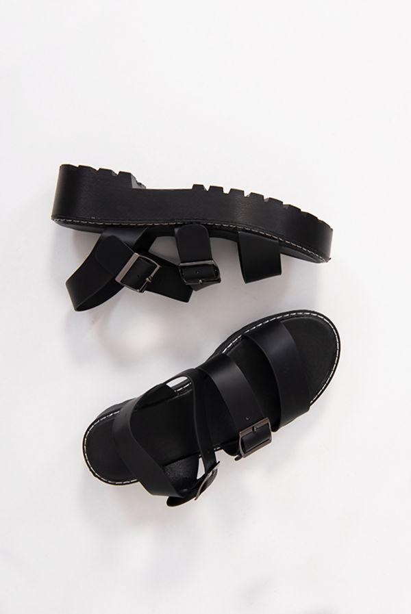 Black Buckle Strap Gladiator Sandals