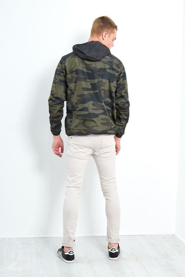 Black Camo Contrast Windbreaker Jacket