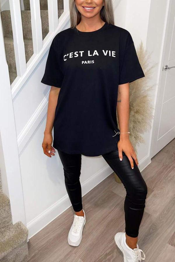 Black Cest La Vie Oversized Tee