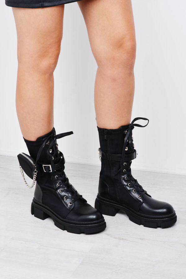 Black Chain Pocket Trim Lace Up Cleated Sole Biker Boot
