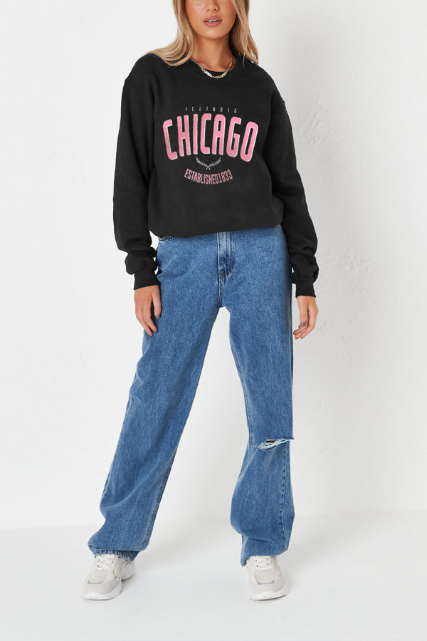 Black Chicago Oversized Sweatshirt