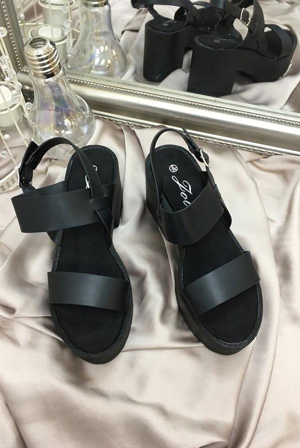 Black Chunky Platform Heeled Sandals