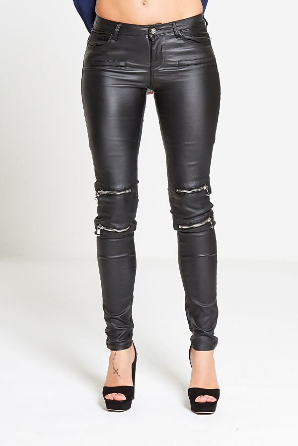Black Coated Biker Detail Skinny Jeans