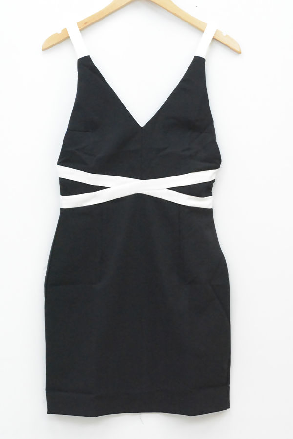 Black Contrast Detail Plunge Bandage Bodycon Dress