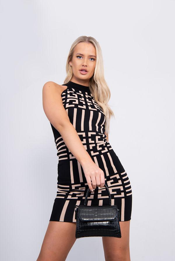 Black Contrast Printed Halter Bodycon Dress