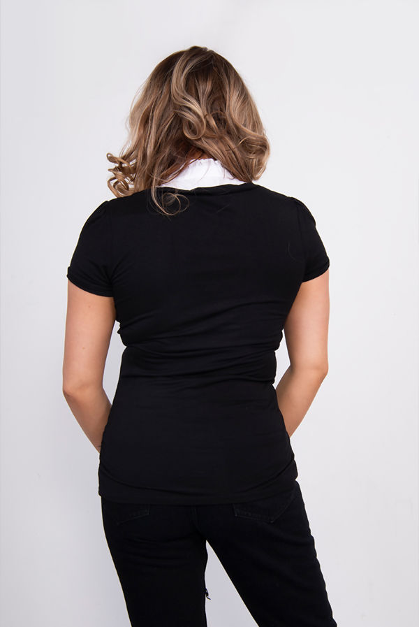 Black Contrast Ruffle Collar Tee
