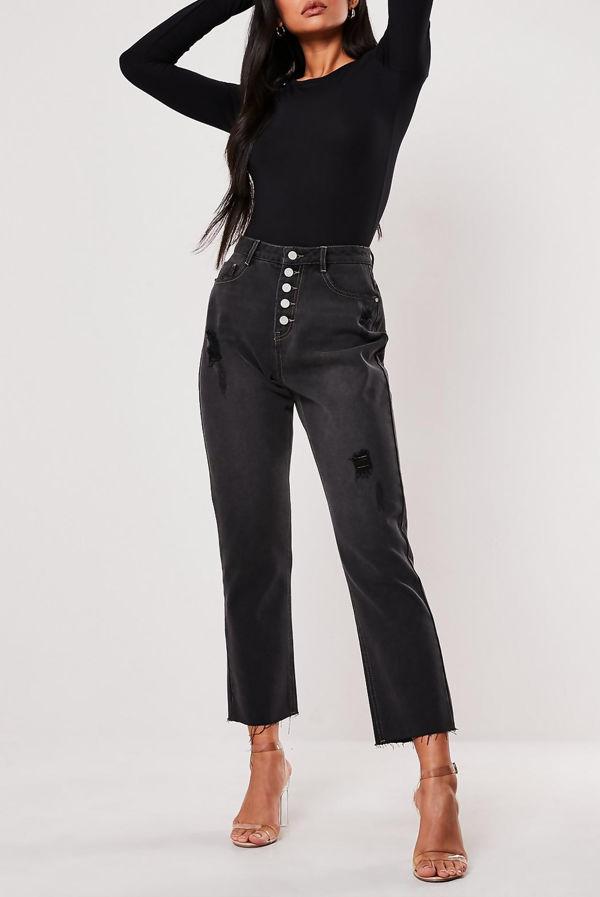 Black Crew Neck Long Sleeve Bodysuit