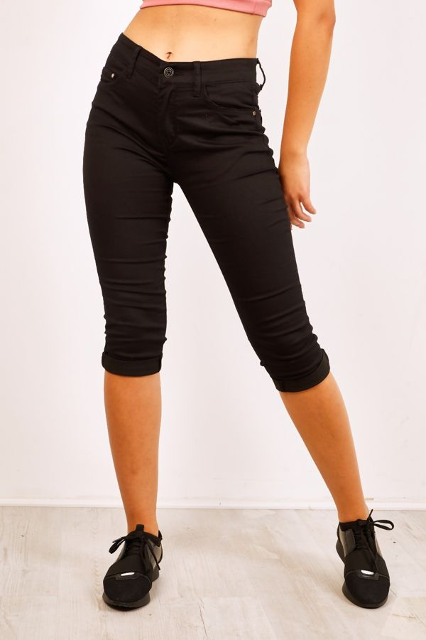 Black Cropped Mid Rise Jeans