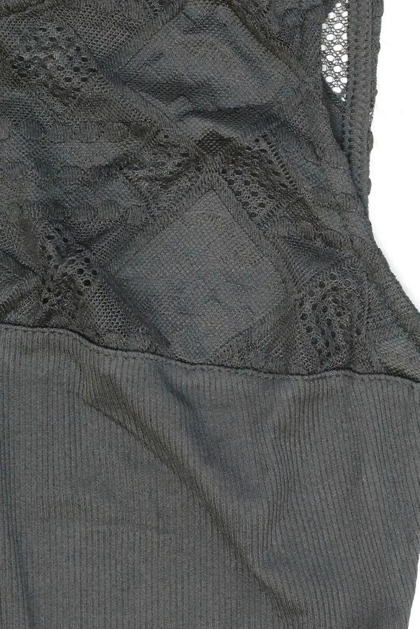Black Cut Out Back Lace Up Bodysuit