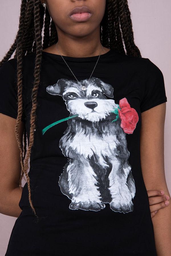 Black Cute Rose Dog Printed Tee