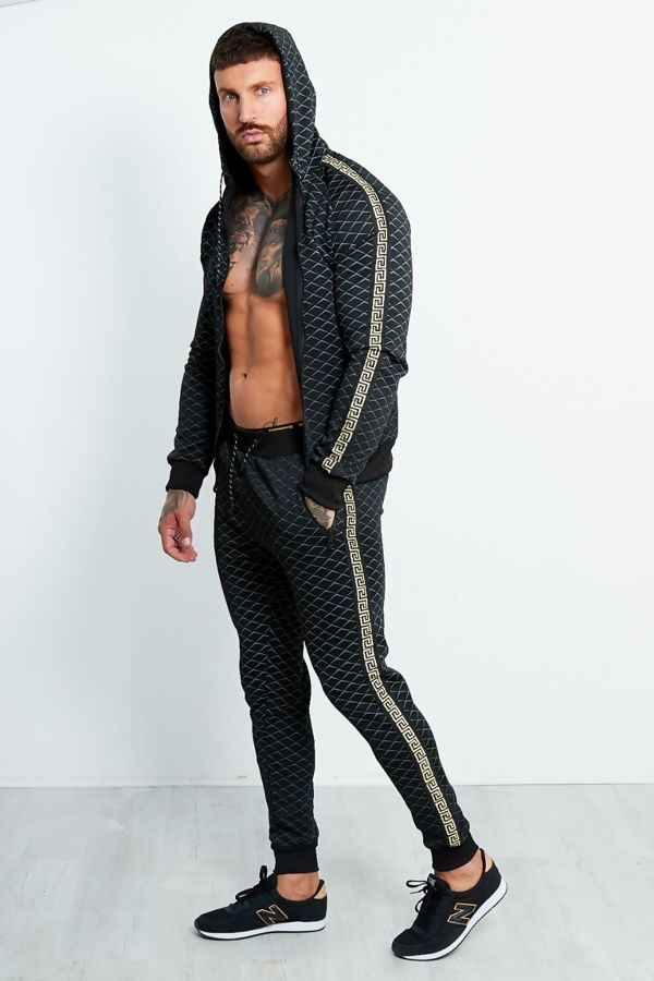 Black Diamond Greek Line Side Detail Skinny Fit Tracksuit