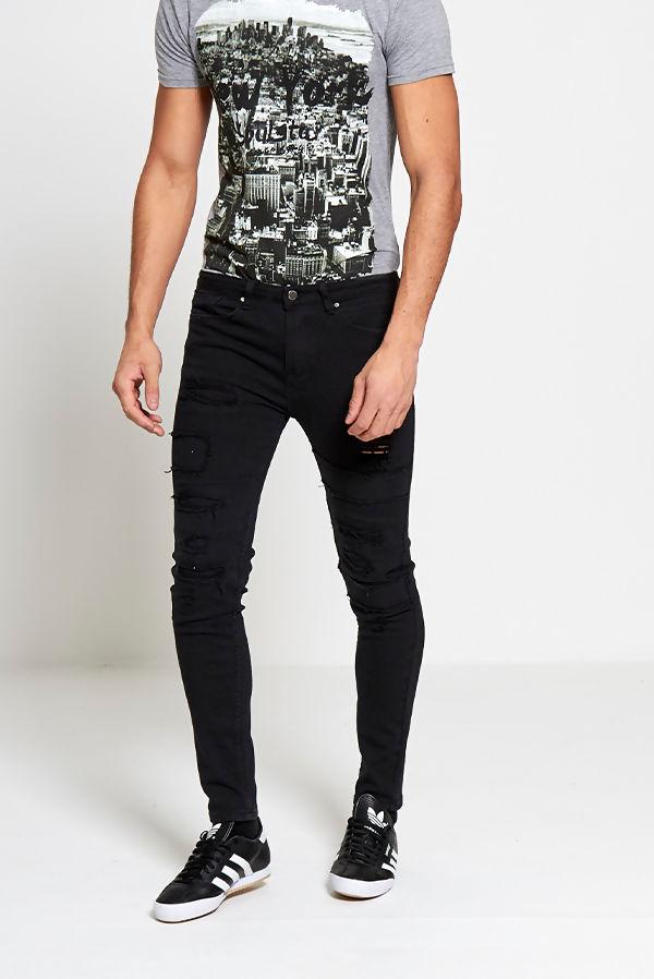 Black Distressed Detail Biker Jeans