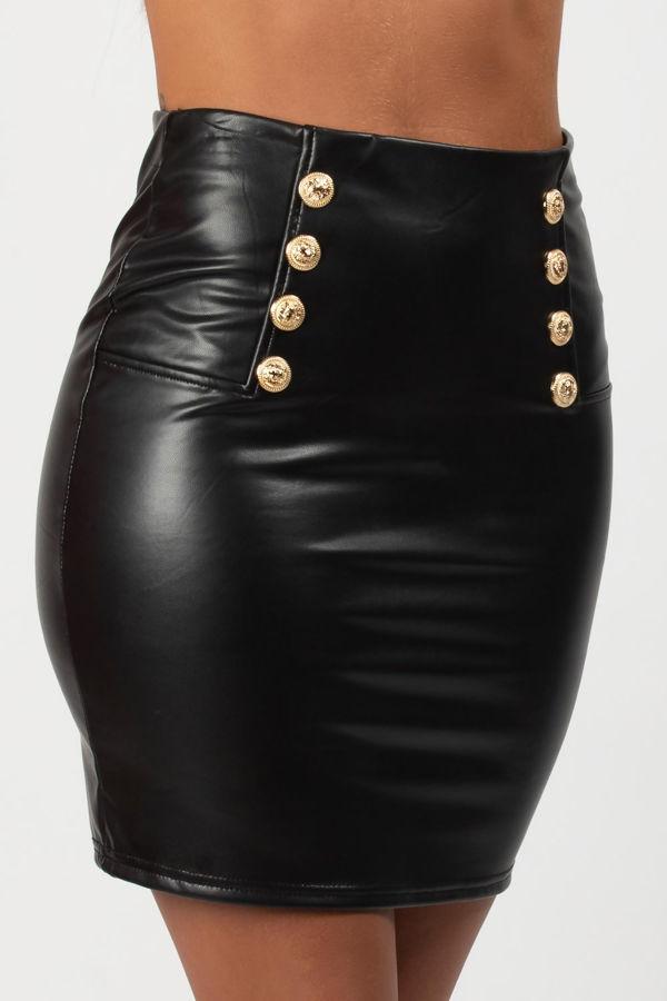 Black Double Button Faux Leather PU Mini Skirt