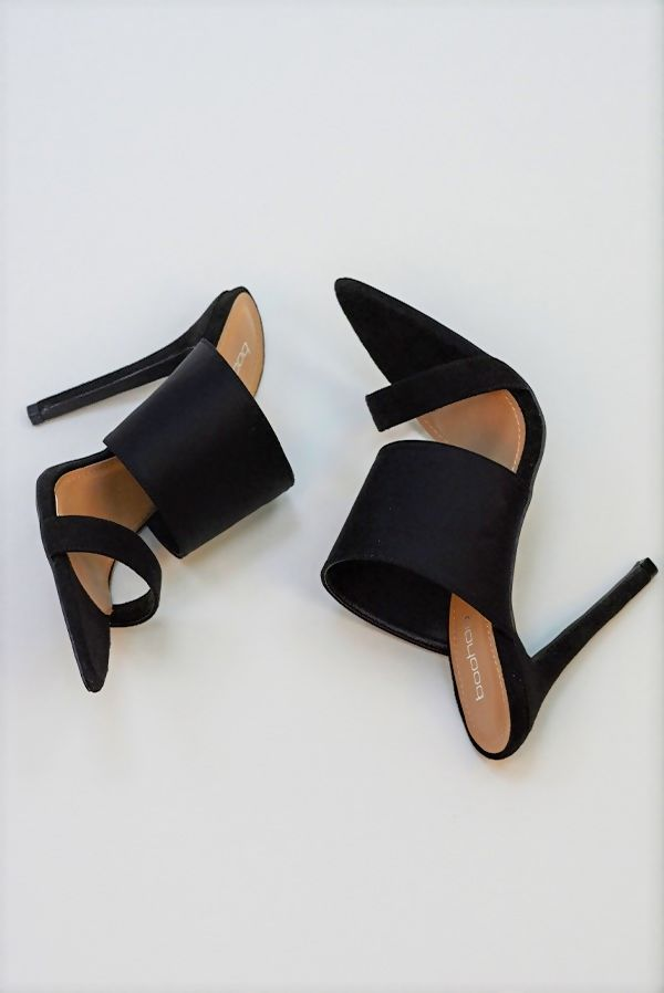 Black Double Strap Neoprene Block Heel Mules