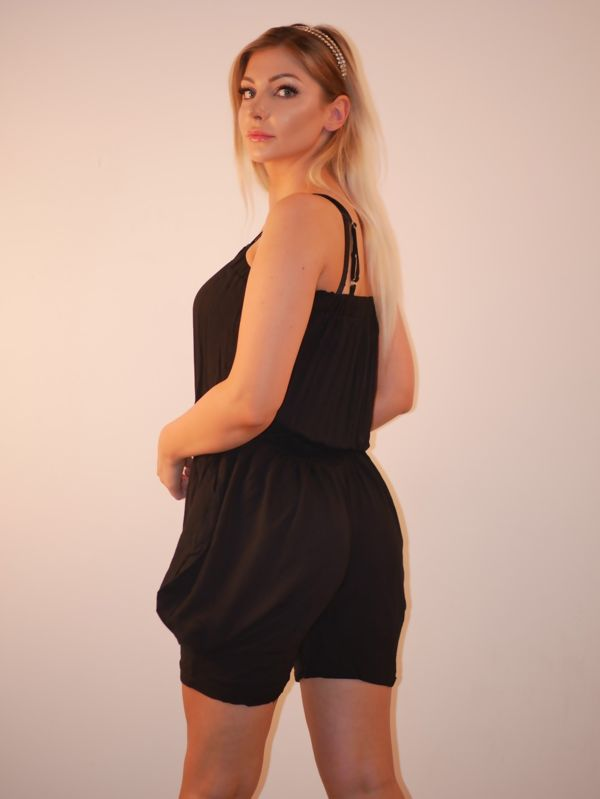 Black Elasticated Waist Spaghetti Strap Playsuit
