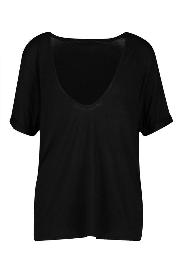 Plus Size White Extreme V Front Oversized T-Shirt