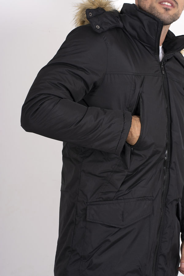 Black Faux Fur Hooded Puffer Jacket
