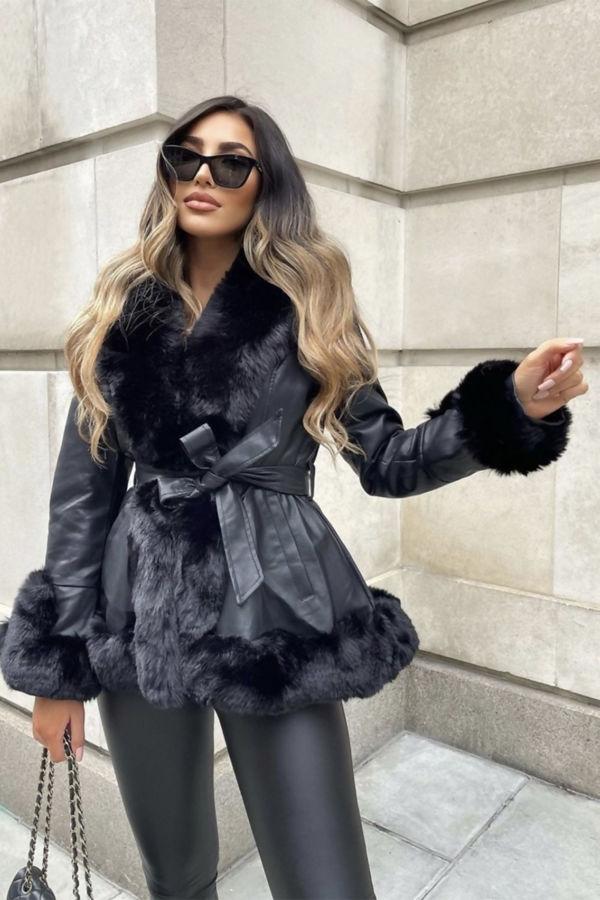 Black Faux Fur Trim Belted Hooded Leather Jacket