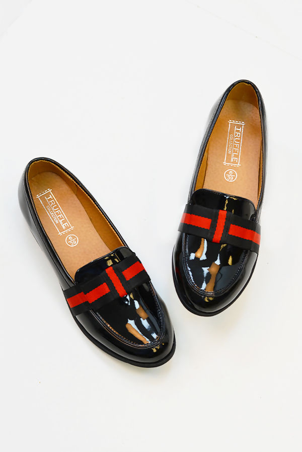 Black Faux Patent Loafers With Striped Bow