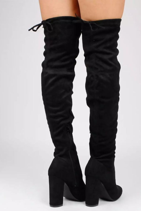 Black Faux Suede Heel Thigh Boots
