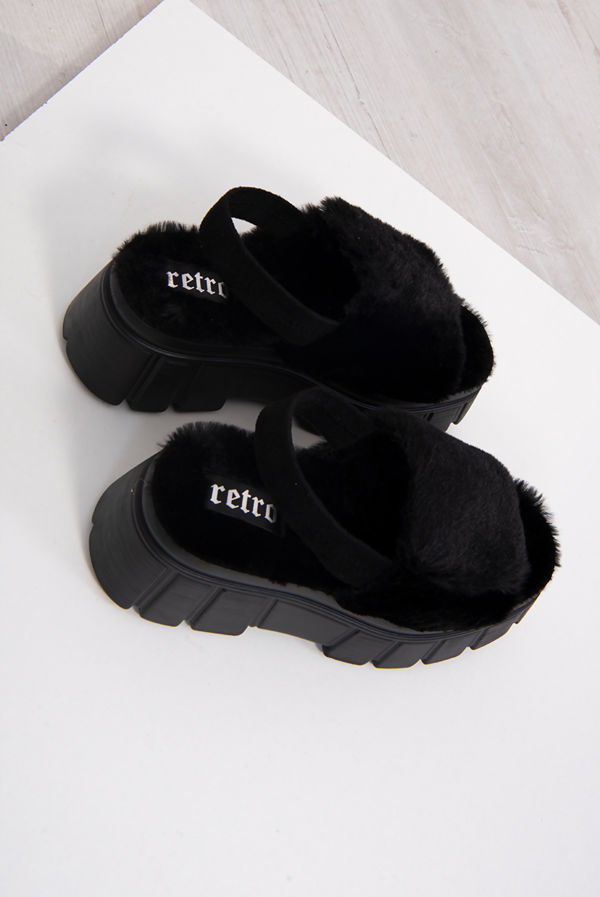 Black Fluffy Velcro Strap Chunky Platform Sandals