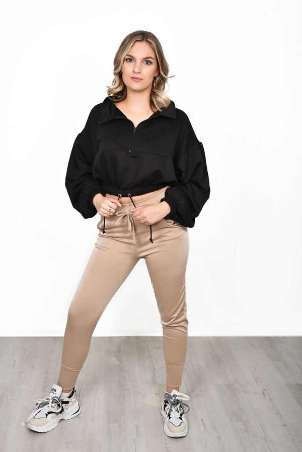Black Half Zip Balloon Sleeve Loopback Sweatshirt