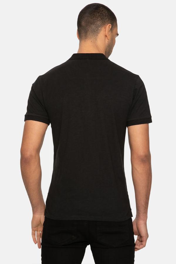 Black Henry Cotton Short Sleeve Polo Shirt