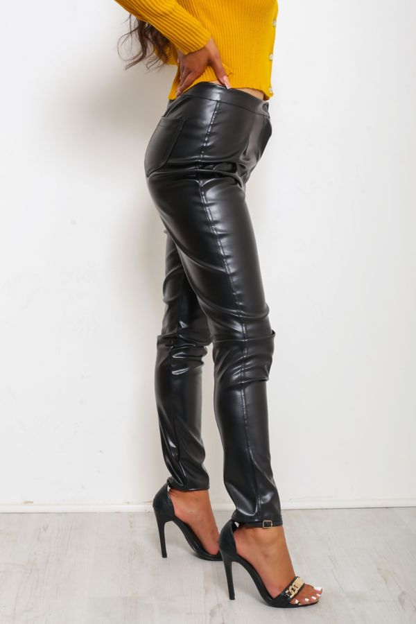 Black High Rise Faux Leather Pants