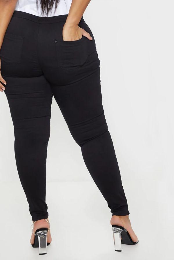 Plus Size Black High Waisted Tube Skinny Jeans
