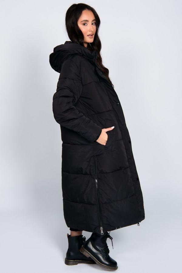 Sand Hooded Maxi Padded Coat