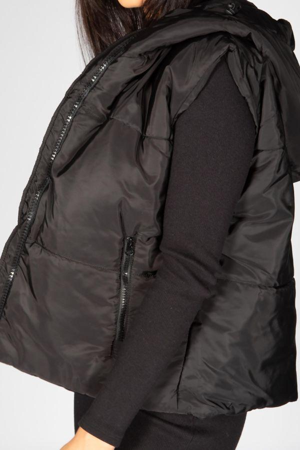 Black Hooded Padded Gilet