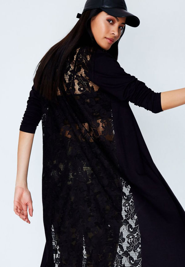 Black Lace Back Longline Cardigan