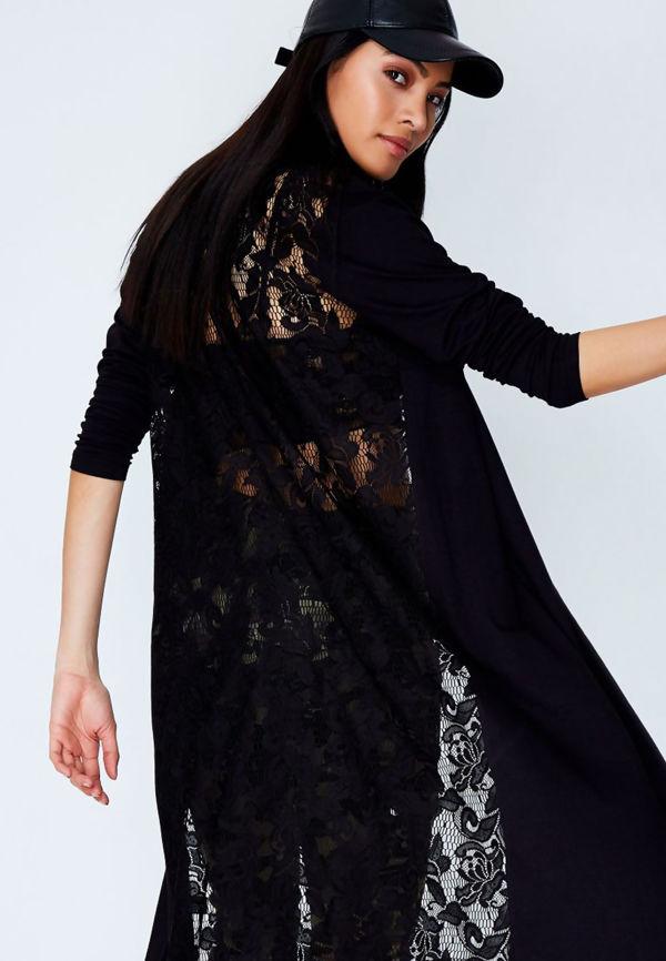 Black Lace Back Longline Cardigan
