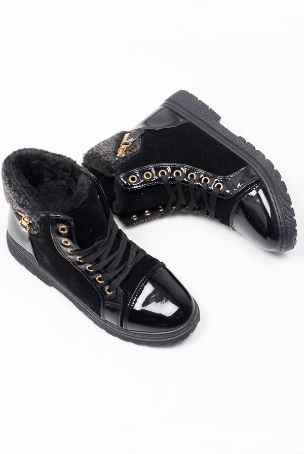 Black Lace Up Borg Fur Boots