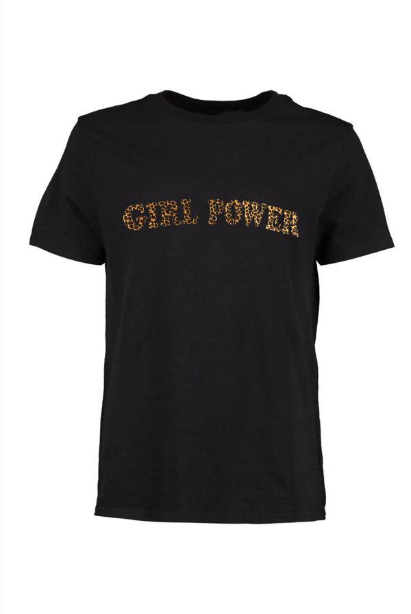 Black Leopard Girl Power Slogan T-Shirt